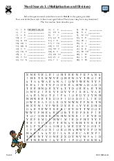 Word Search 1. (Multiplication and Division)